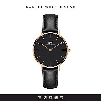 DW 手錶 官方旗艦店 32mm玫瑰金框 Classic Petite 爵士黑真皮皮革