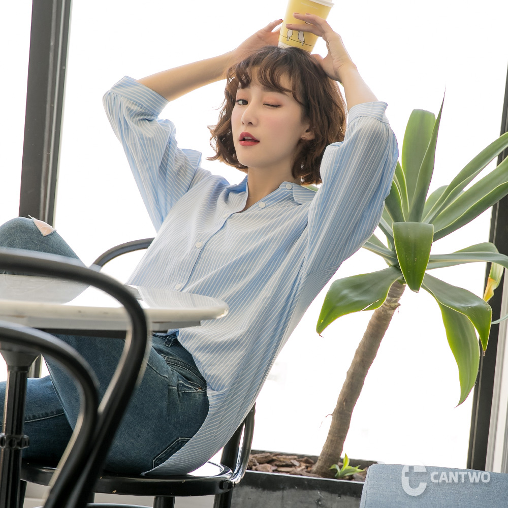 CANTWO韓系簡約澎袖襯衫-共兩色