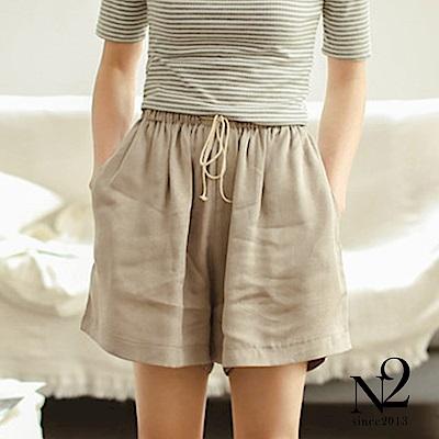 褲子 鬆緊綁帶棉麻寬鬆口袋休閒短褲(杏)N2