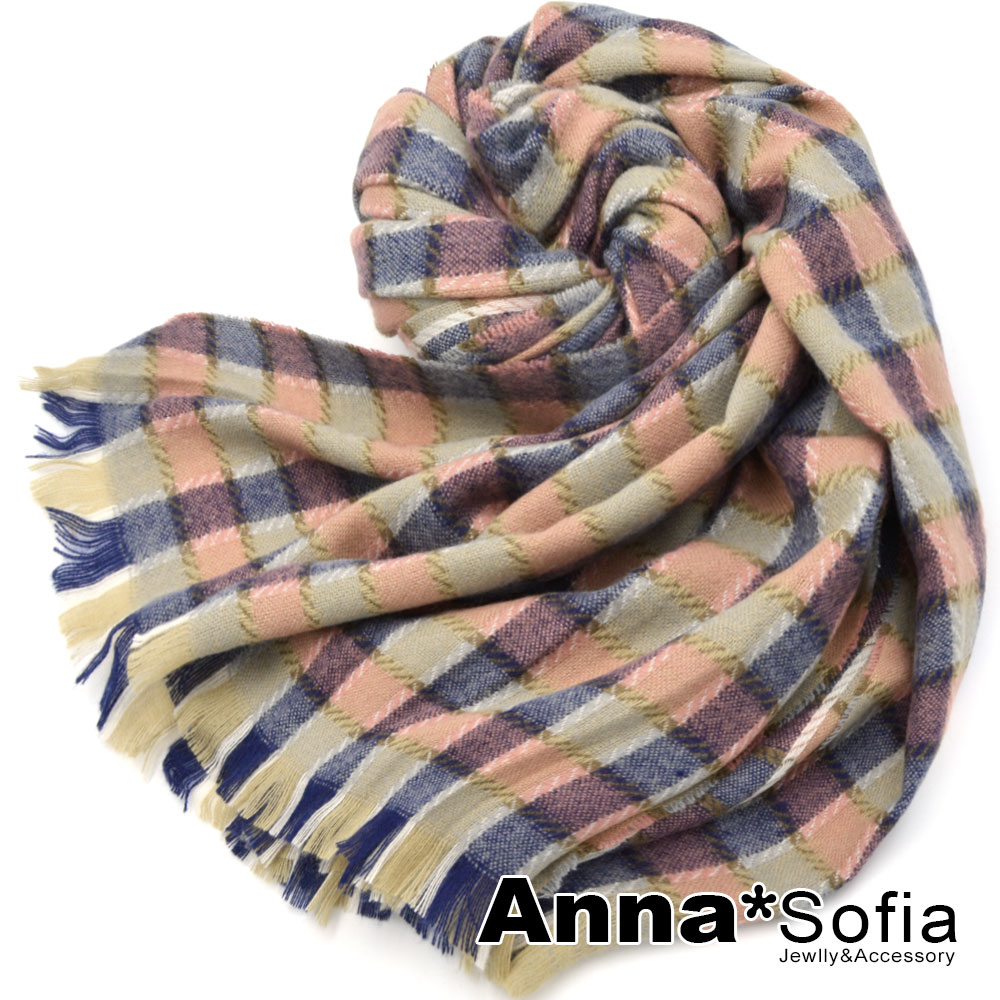 AnnaSofia 繽幻彩格 毛邊仿羊絨大披肩圍巾(粉格系) @ Y!購物