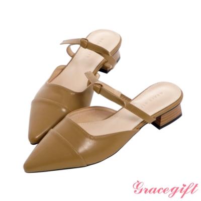 Grace gift-尖頭綁結後空低跟鞋 卡其