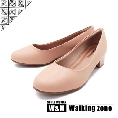 WALKING ZONE SUPER WOMAN系列 圓頭素面低跟上班鞋 女鞋-卡其(另有黑.藍)