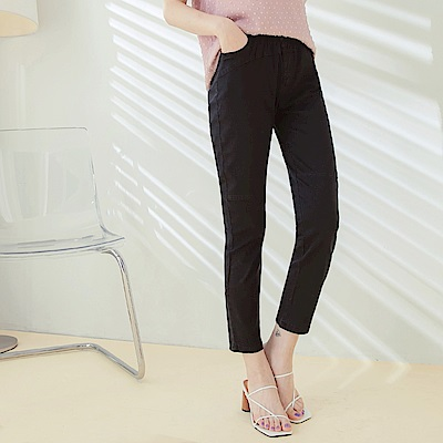 高含棉輕薄彈力修身鬆緊腰修身窄管褲-OB大尺碼