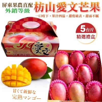 【果農直配】屏東嚴選愛文芒果5斤禮盒(6-9顆)