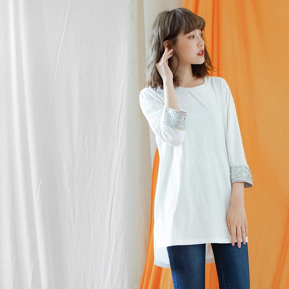 高含棉純色袖口亮片長版上衣-OB嚴選