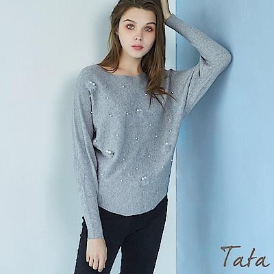 釘珠毛絨針織上衣 TATA