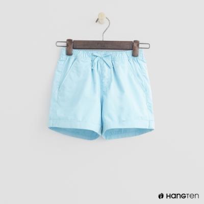 Hang Ten -童裝 - 純色綁帶造型短棉褲 - 亮藍