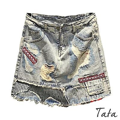 舊時代刷破拼接牛仔褲裙 TATA-(S~L)