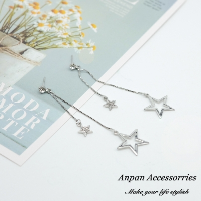 【ANPAN愛扮】韓東大門STAR浪漫垂墜流星925銀針耳釘式耳環