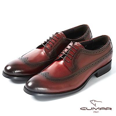 CUMAR英式牛津 復古質感正式皮鞋-酒紅