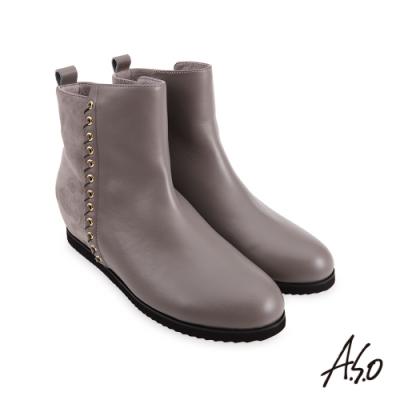 A.S.O  時尚流行 牛皮拼接羊絨飾釦真皮短靴-灰