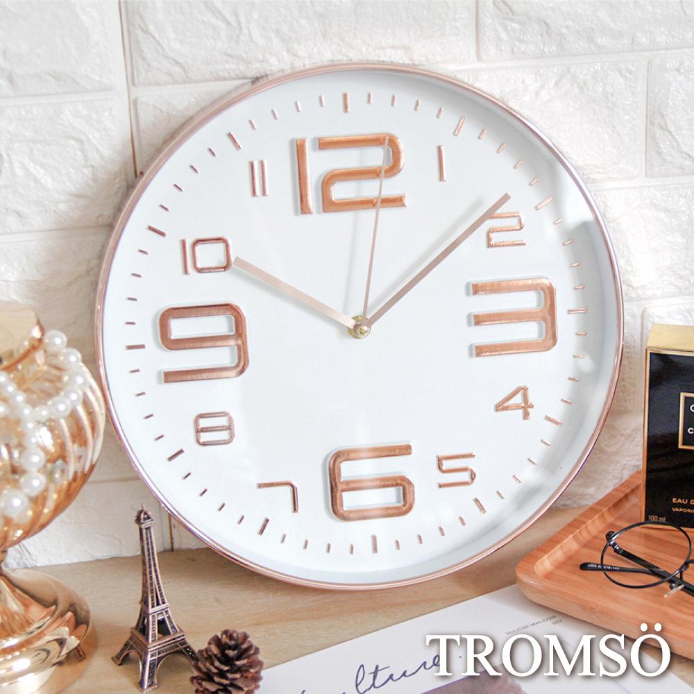 TROMSO 紐約時代玫瑰金靜音時鐘-都會大數字