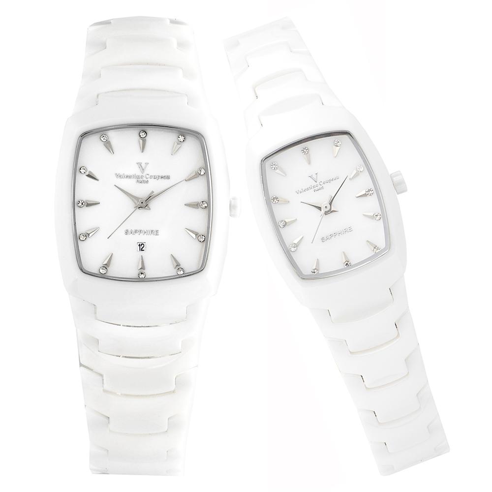 Valentino Coupeau 范倫鐵諾 古柏 精密陶瓷酒桶腕錶 白陶 對錶