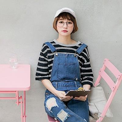 情侶系列~假兩件配色橫條紋高含棉短袖上衣(女)-OB嚴選