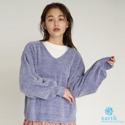 earth music V領絲絨針織上衣