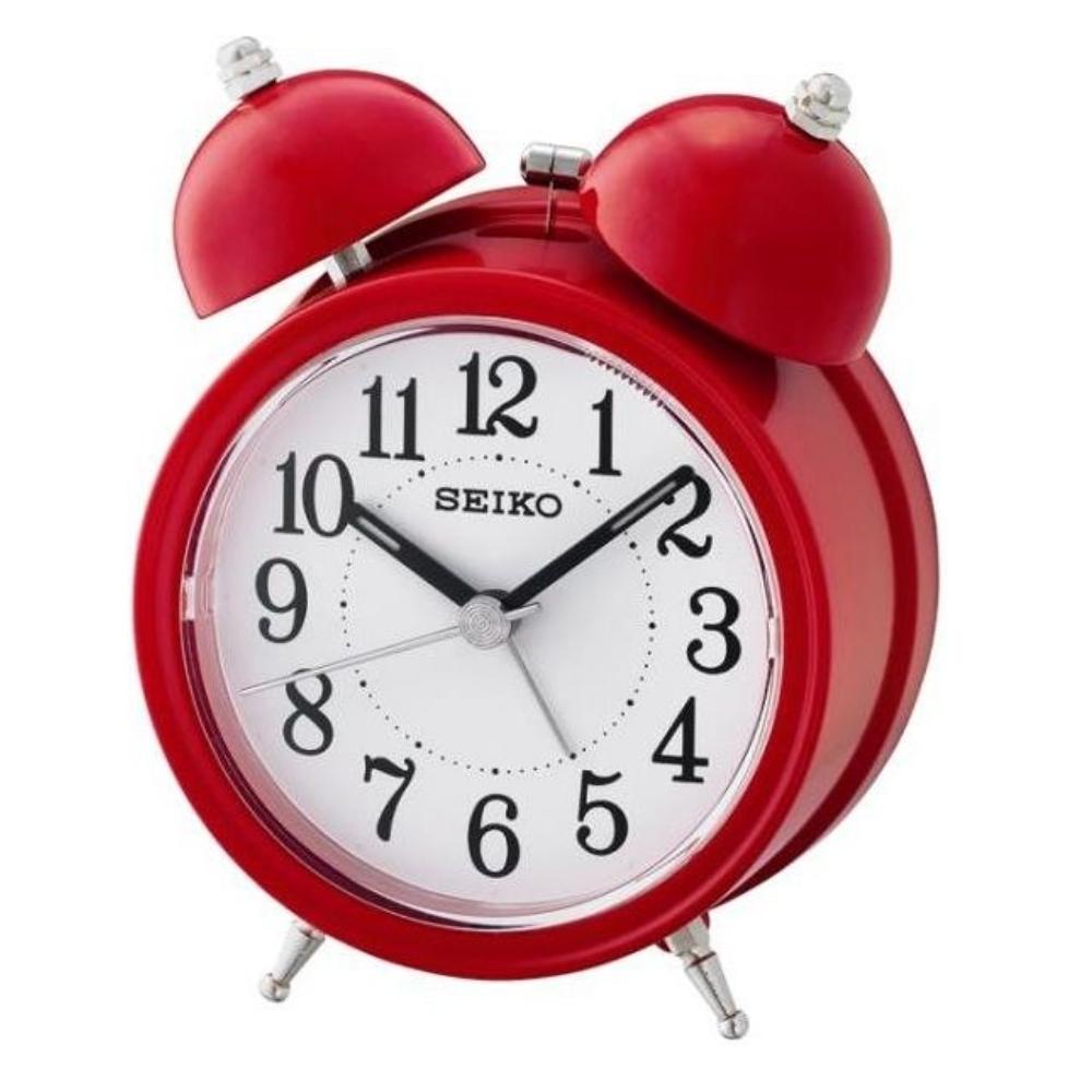 SEIKO 精工 響鈴聲 滑動式秒針 貪睡鬧鐘(QHK035R)-紅/11.1X8.4cm