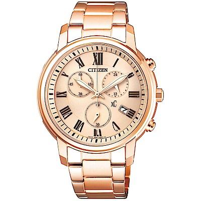 CITIZEN 星辰(FB1432-55X)xC 玫瑰金羅馬計時女錶
