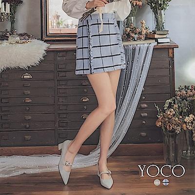 東京著衣-yoco 法式甜點荷葉滾邊毛呢短裙-S.M.L(共二色)
