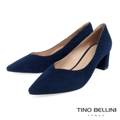 Tino Bellini 羊皮尖頭粗跟高跟鞋_藍