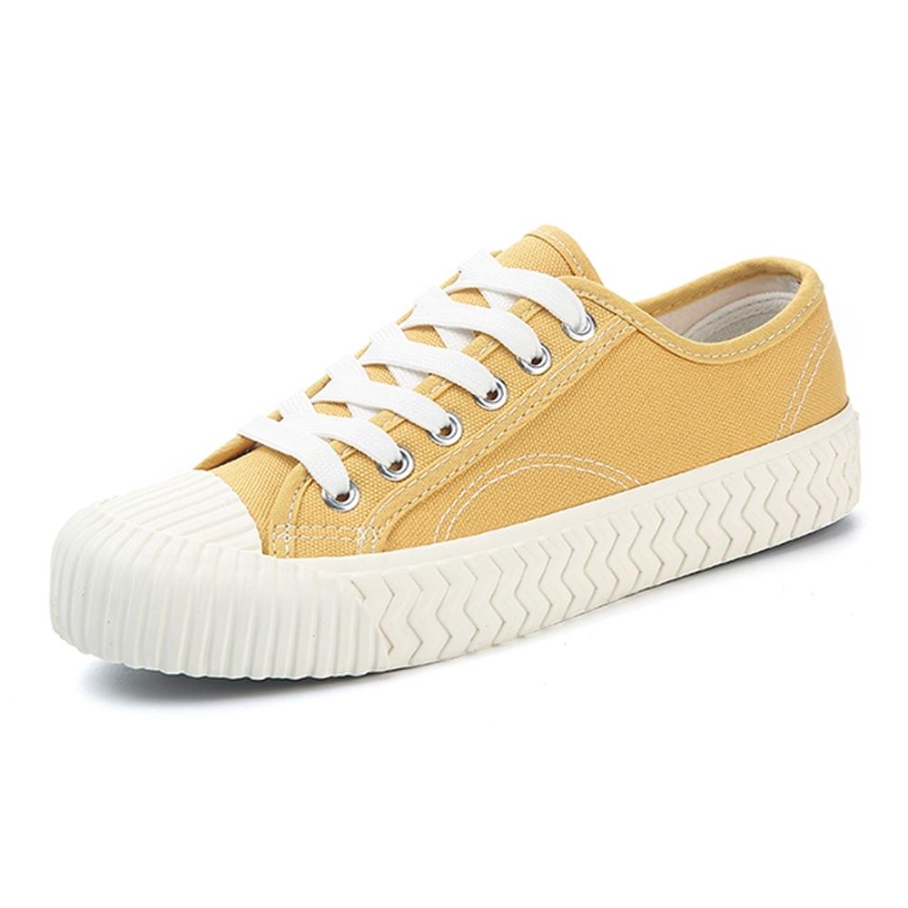 韓國KW美鞋館-(現貨)簡約經典綁帶厚底帆布鞋(共1色) (黃色)