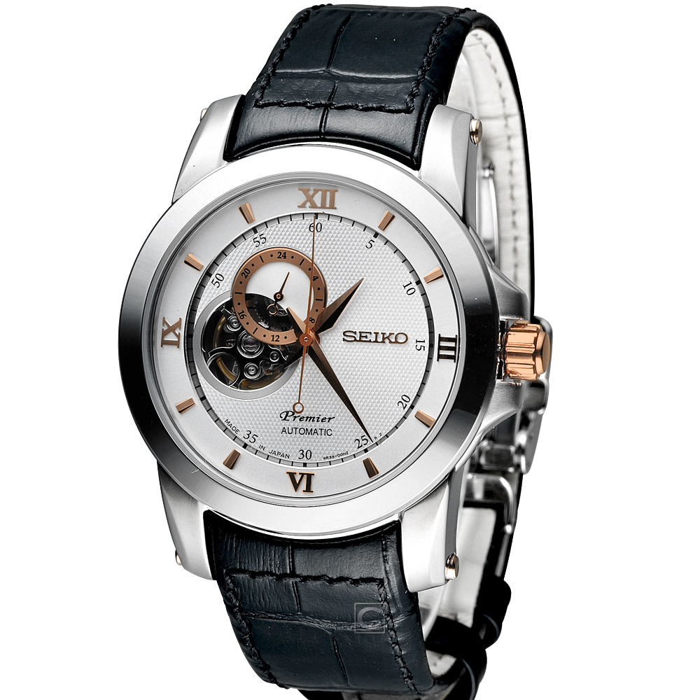 SEIKO Premier 精工 尊品鏤空開芯機械錶-銀x黑色錶帶