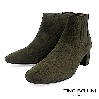 Tino Bellini 經典絨布質感中跟切爾西靴 _ 綠