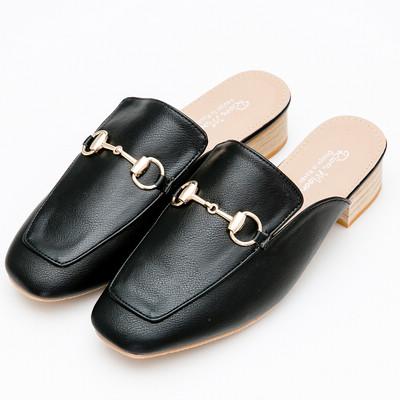 River&Moon中大尺碼-金屬馬銜釦樂福粗跟穆勒鞋-黑