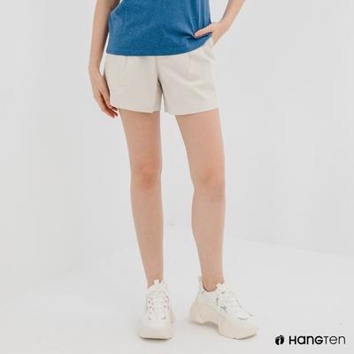 Hang Ten-女裝-REGULAR FIT打褶短褲-米白色