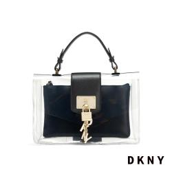 DKNY 時尚透明簡約鎖頭斜背包 黑