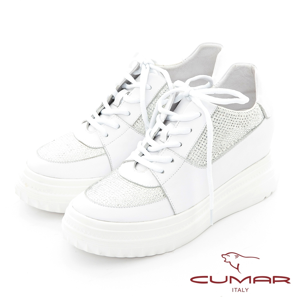 【CUMAR】真皮拼接閃耀亮鑽綁帶厚底休閒鞋-白