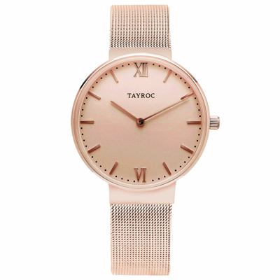 TAYROC  浪漫奢華時尚米蘭腕錶-玫瑰金(TY146)-36mm