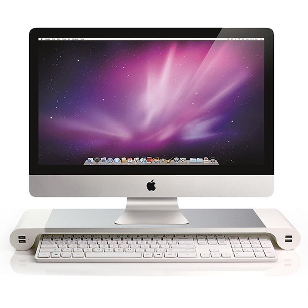 時尚玩家 4孔USB鋁合金電腦螢幕增高收納架(螢幕架/電腦架)