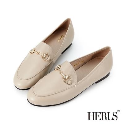 HERLS樂福鞋 全真皮馬銜釦橢圓頭平底樂福鞋 深杏色