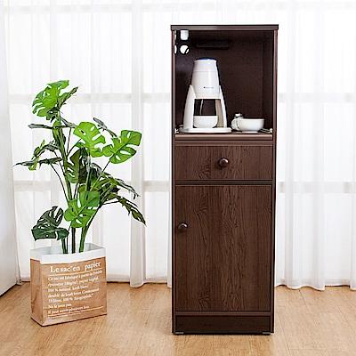 Birdie南亞塑鋼-1.4尺單門單抽塑鋼電器櫃/收納餐櫃(胡桃)-44x41x131cm