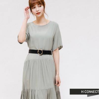 H:CONNECT 韓國品牌 女裝 -自然抓皺長洋裝-綠