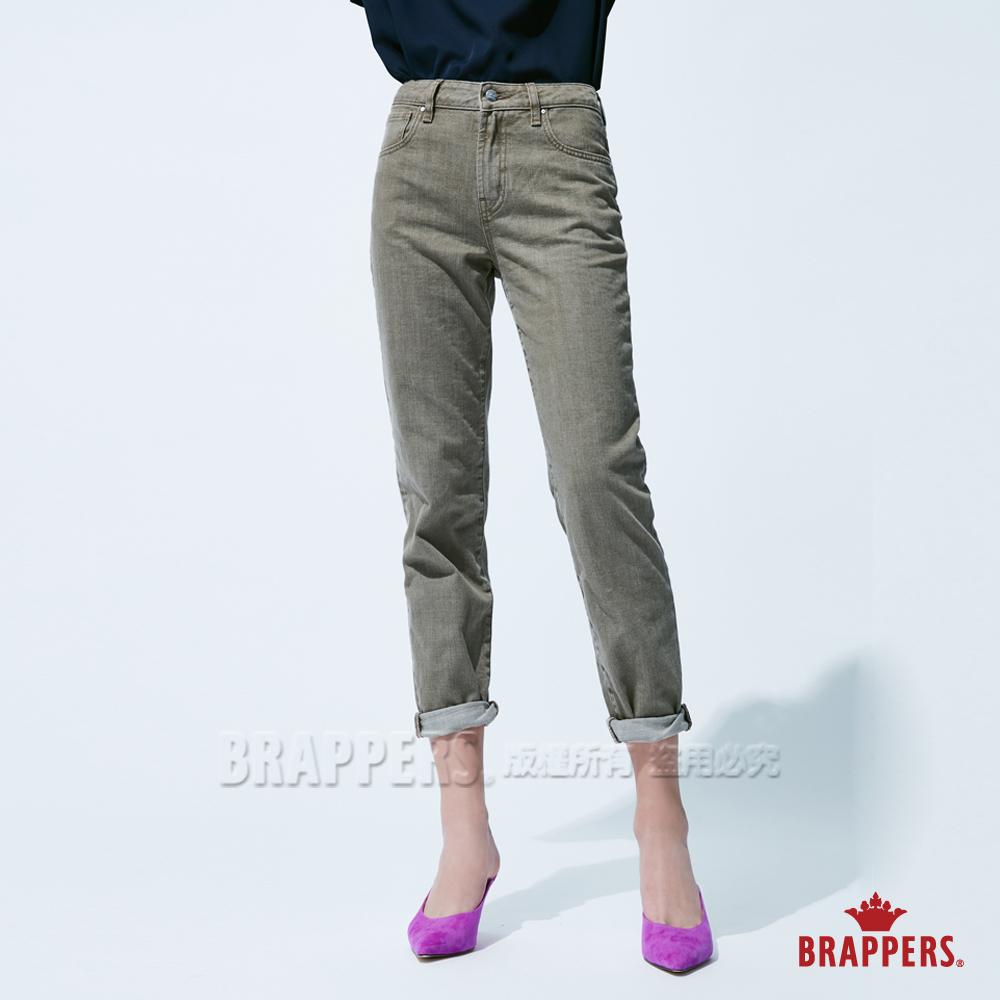 BRAPPERS 女款 Boy friend系列-中高腰素面直筒褲-綠