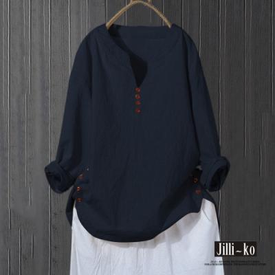 JILLI-KO 文青系寬鬆V字領棉麻上衣- 深藍/杏