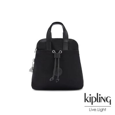 Kipling 低調沉穩黑造型三角後背包-GOYO MINI