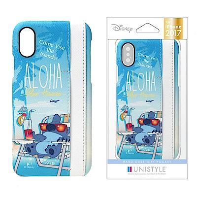 iPhone X 迪士尼 皮革/插卡 三口袋 手機硬殼 5.8吋-史迪奇