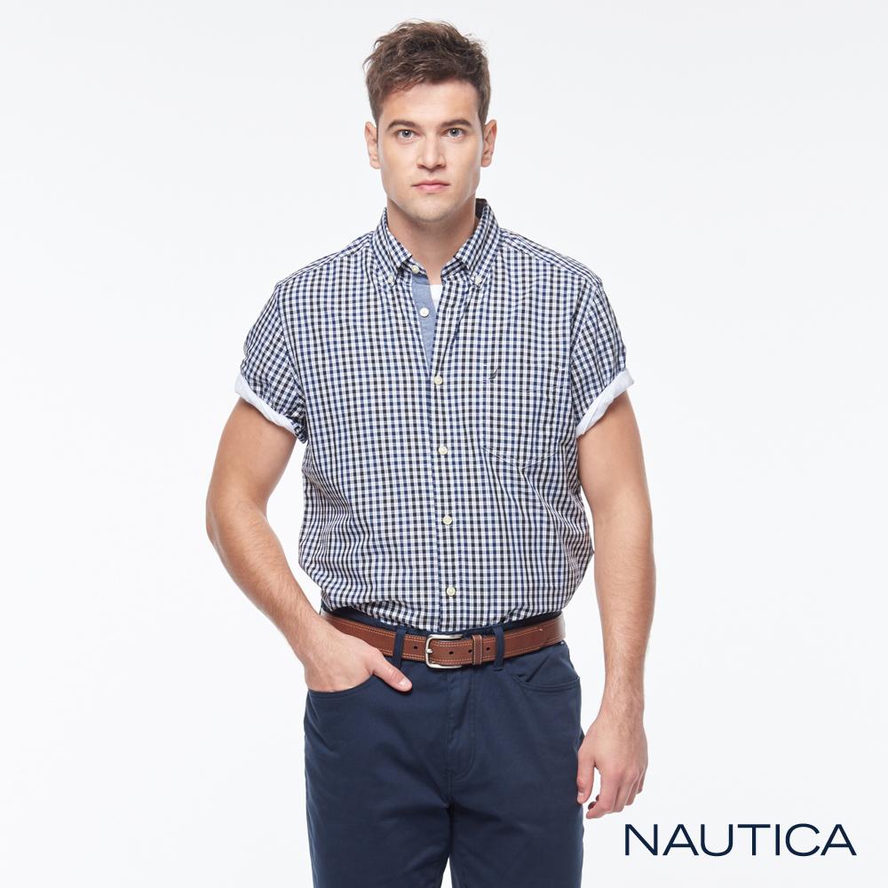 Nautica經典百搭格紋短袖襯衫-藍白格