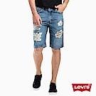 Levis 男款 牛仔短褲 上寬下窄 541 寬鬆舒適 貓鬚破壞 格紋補丁
