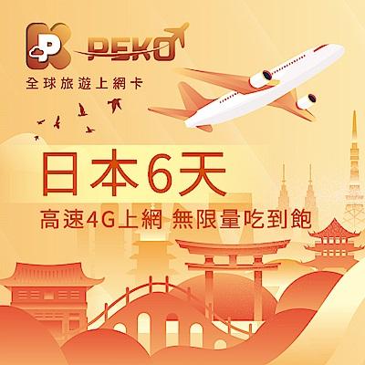 【PEKO】日本上網卡 softbank 日本網卡 沖繩 北海道 網卡 6日4G上網 無限量吃到飽