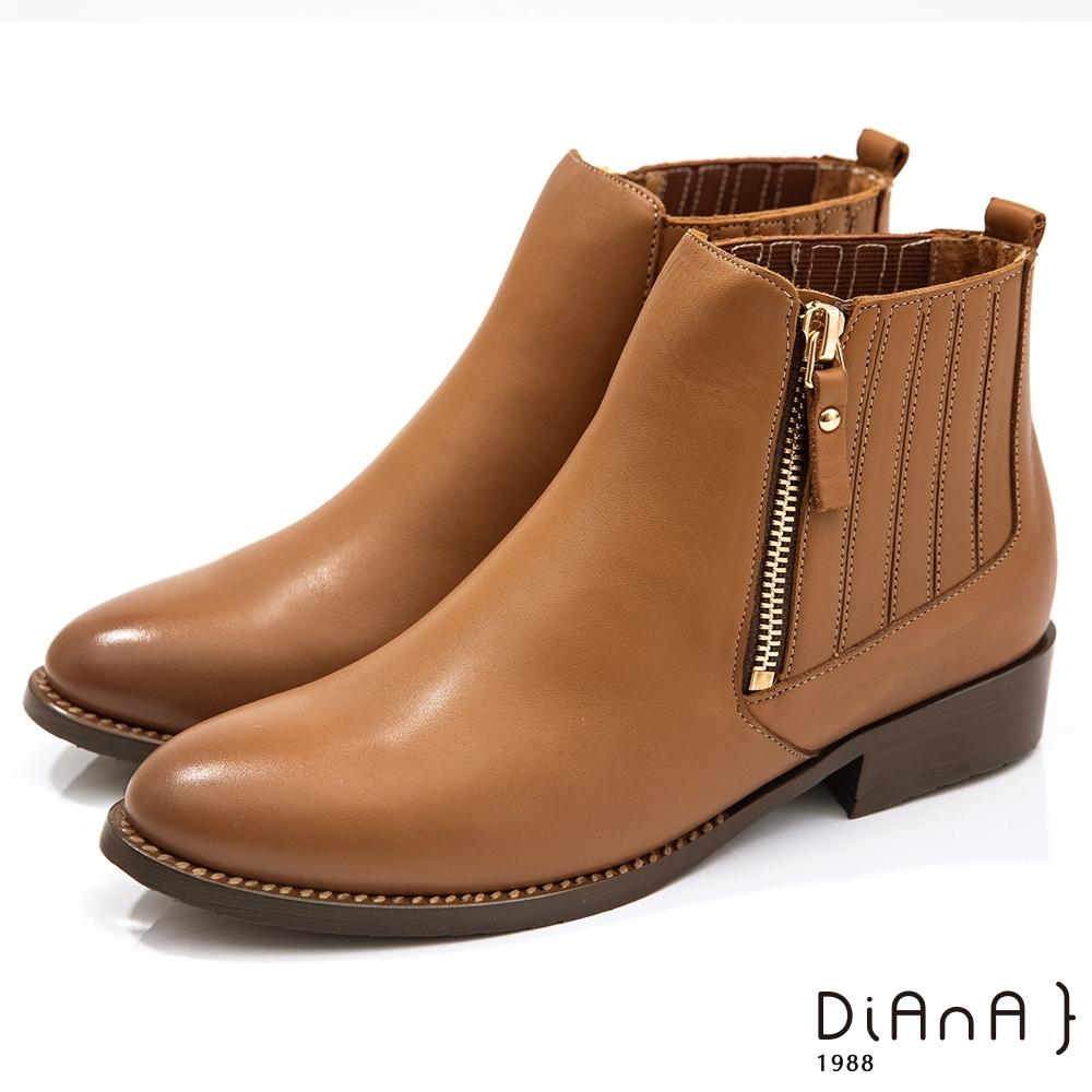 DIANA 3公分水染漸層雙色牛皮側拉練金屬鉚釘釦-圓頭短靴-棕