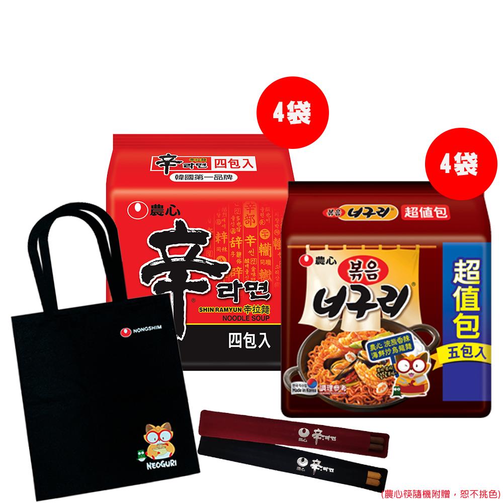 [團購E] 農心辛拉麵(4袋)+浣熊炒烏龍麵(4袋)