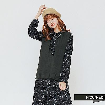 H:CONNECT 韓國品牌 女裝-兩件式小花綁帶洋裝-藍