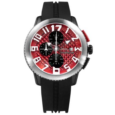 Tendence 天勢表 關鍵時刻 弧型 三眼計時 日期 防水 矽膠手錶-紅x黑/47mm