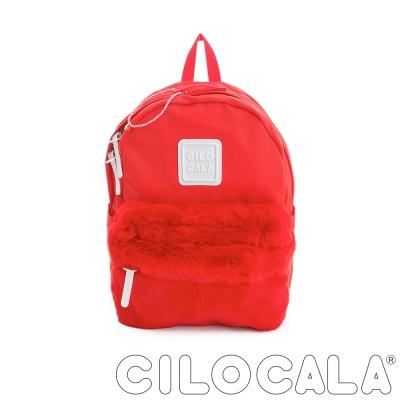 CILOCALA 限量版-亮彩尼龍毛毛防潑水後背包-紅色(中)