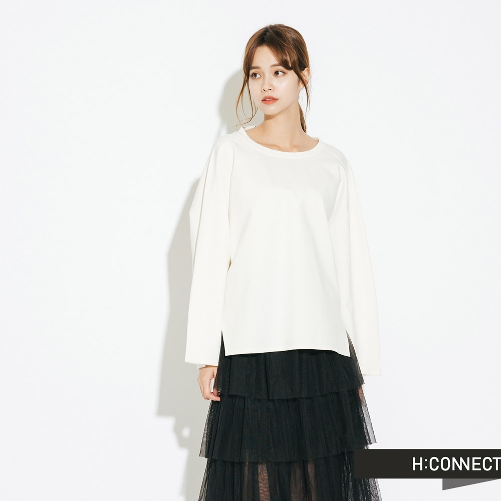 H:CONNECT 韓國品牌 女裝-落肩設計後綁結上衣-白