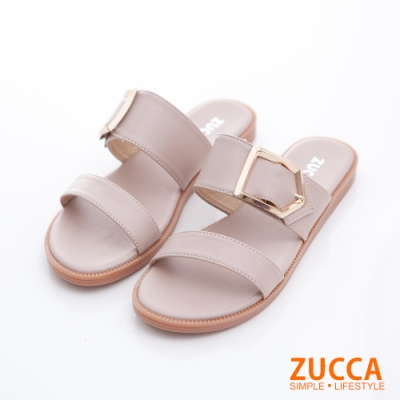 ZUCCA-橫紋金屬扣平底拖鞋-白色-z6805we