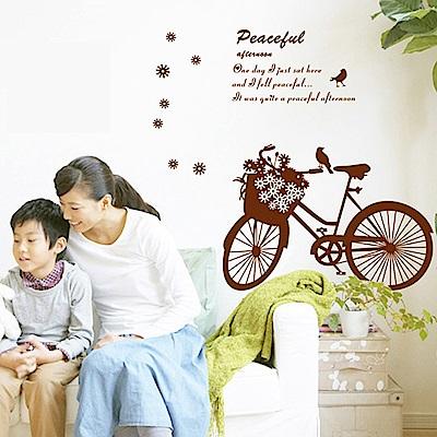 半島良品 DIY無痕壁貼-花朵腳踏車 AY7021 50x70cm